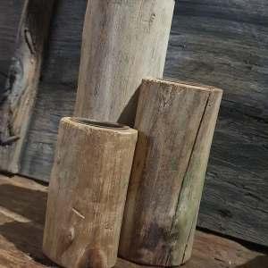 boomstam kandelaartjes set van drie verschillende hoogtes - Benard's Woonaccessoires