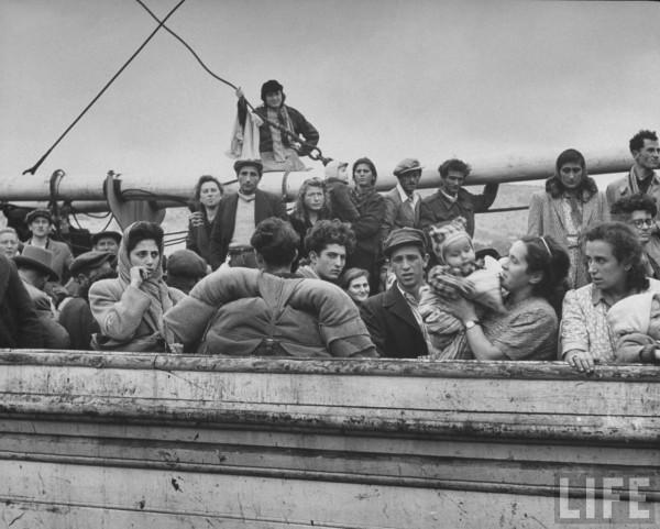 Refugees on captured ship. Dmitri Kessel
