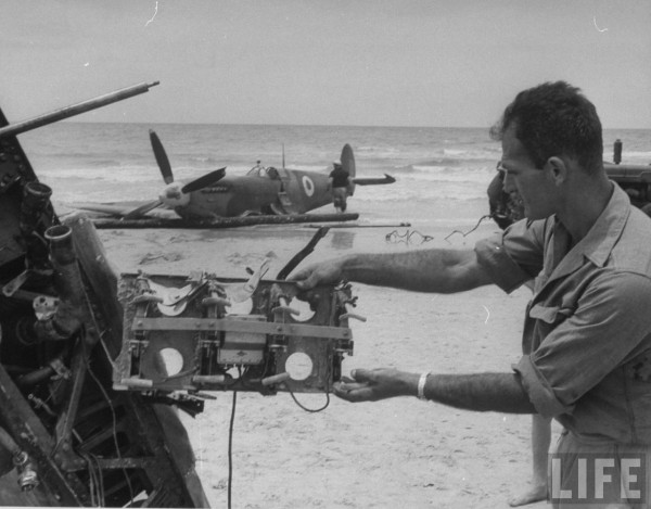 Egyptian plane shot down on Tel Aviv beach. May 1948. Frank Scherschel