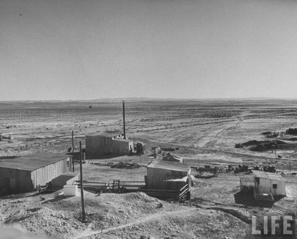View of Jewish outpost near Egyptian border, showing trenches, gun emplacements and barded wire. 1948. Dmitri Kessel