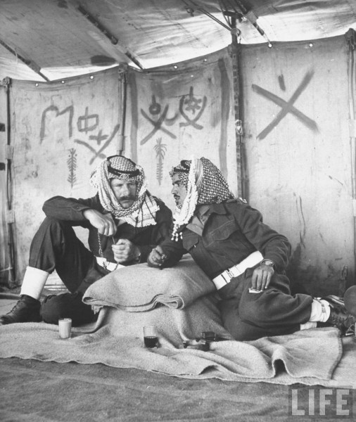 Major James M. Hankin Turvin speaking with Lt. Abdallah Mogely. Israel 1948, John Phillips