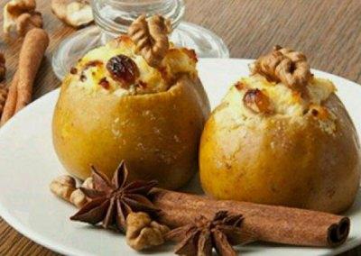 Manzana asada con frutos secos y arándanos