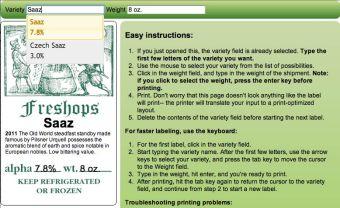 Freshops hop labeler
