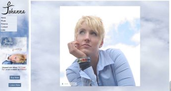 """This front-page slideshow welcomed you to the site I designed for Johanna's older album """"If I Could Fly""""."""
