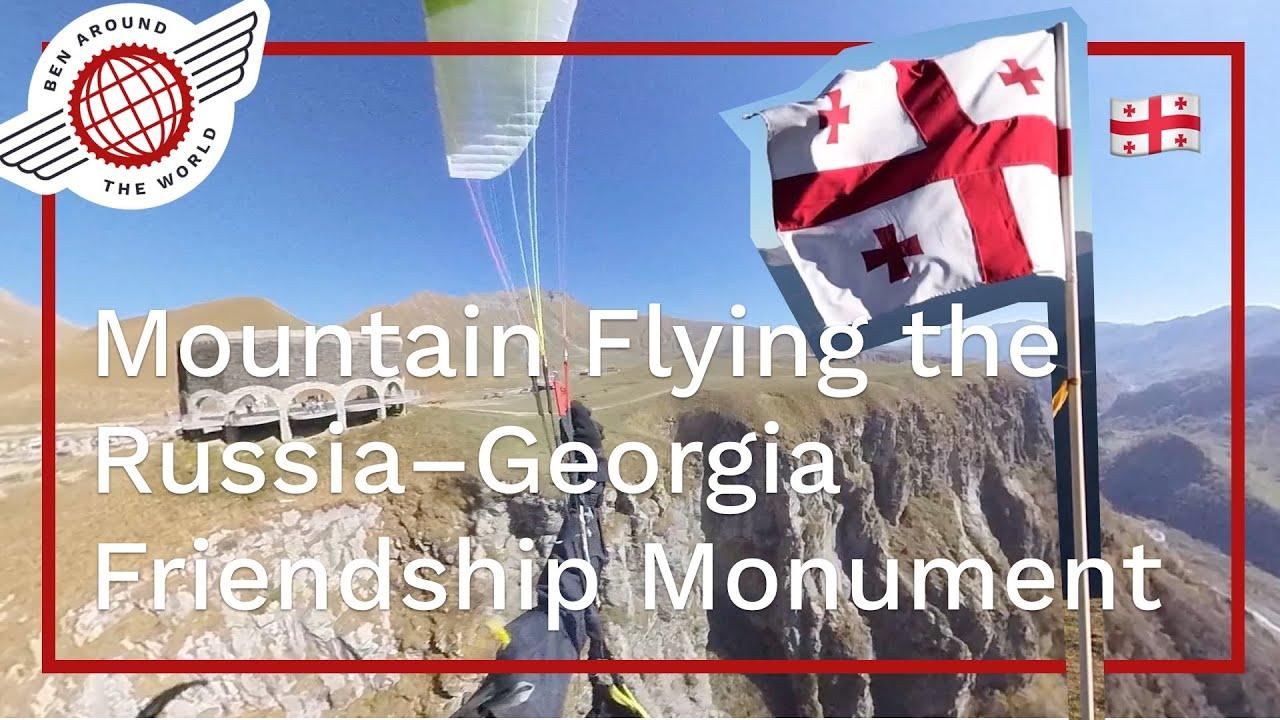 Mountain Paragliding the Russia–Georgia Friendship Monument