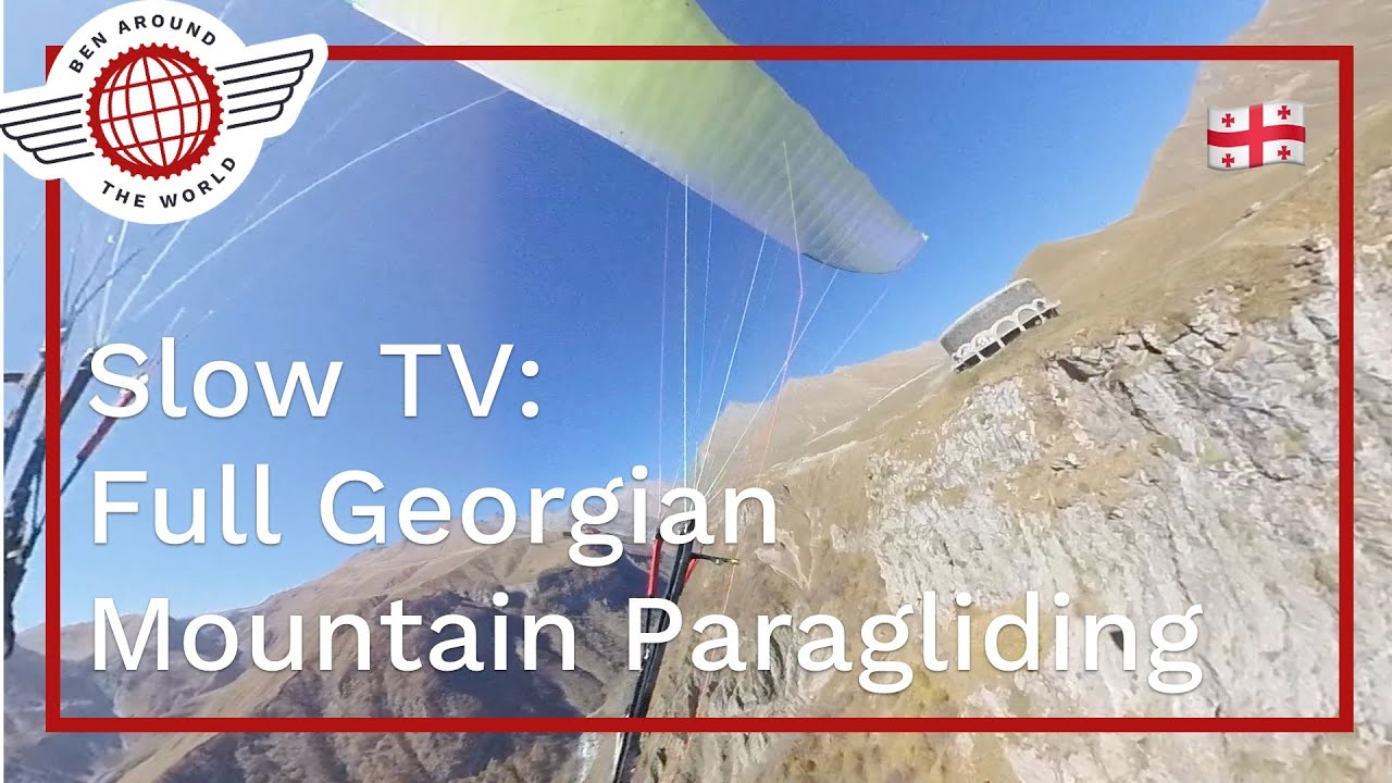 Slow TV: Full 20mins Georgian Mountain Paragliding