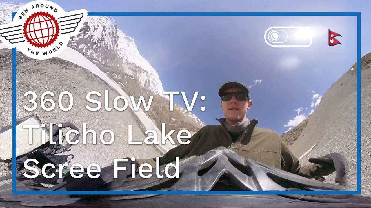 SlowTV 360 Video: Scree Slope,  Tilicho Lake, Nepal