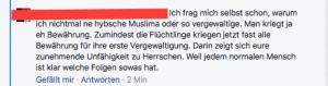 Hasskommentar auf Facebook.