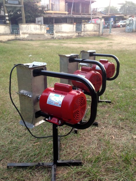 Three of our 7 pilot-machines manufactured in Ghana