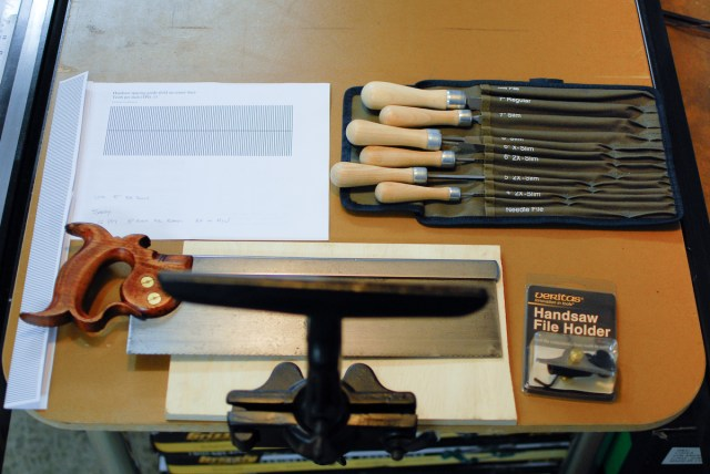 Here is all of my saw filing gear assembled for use. A saw vise, files, Veritas file holder, and template.