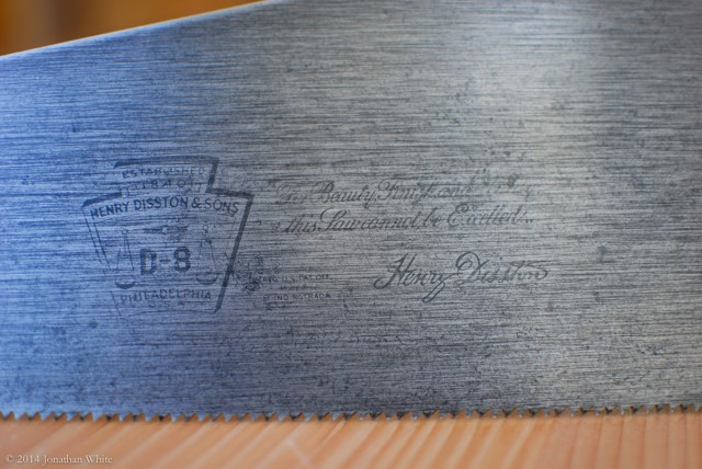 The Disston D-8 etching.