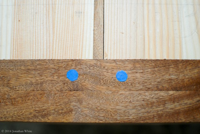 A single draw-bore peg in line with the center stringer, or a double peg like this on either side?