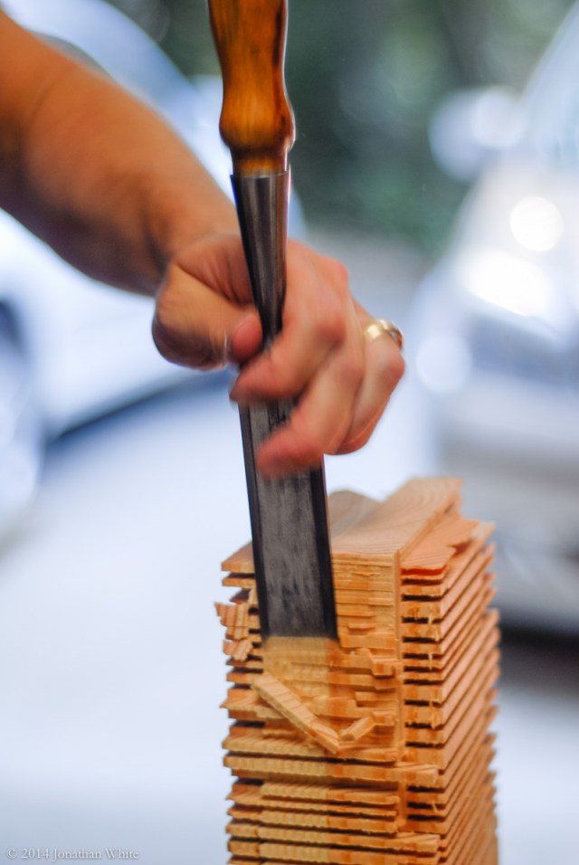Remove most of the waste, but don't cut into the tenon.