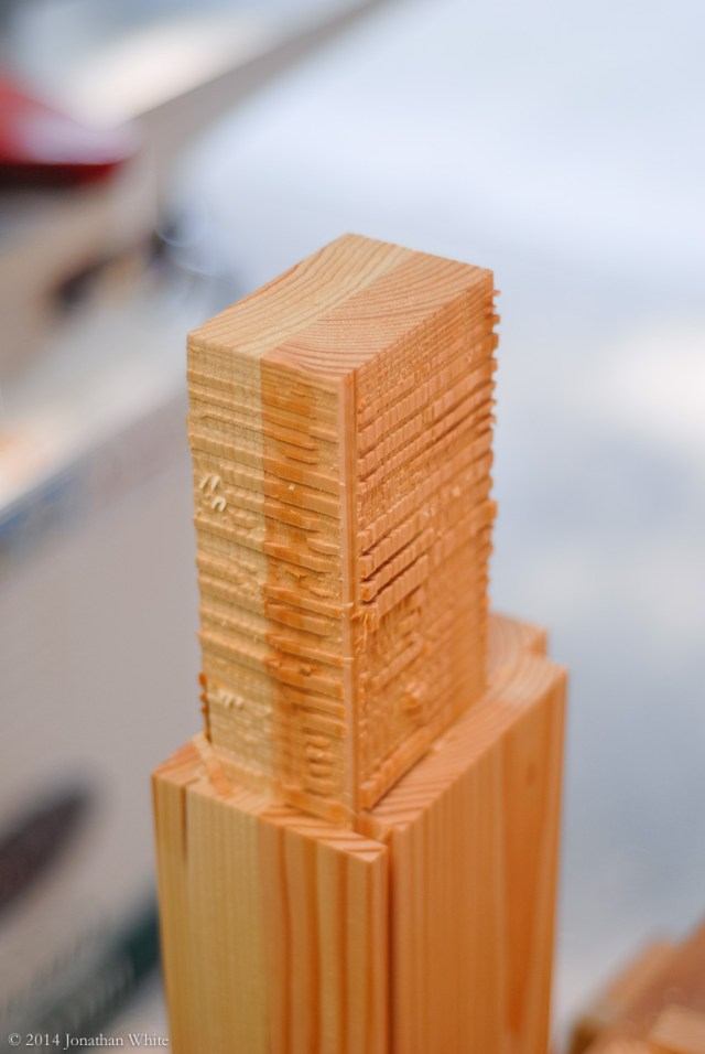 After the initial chiseling, a rough looking tenon is left.