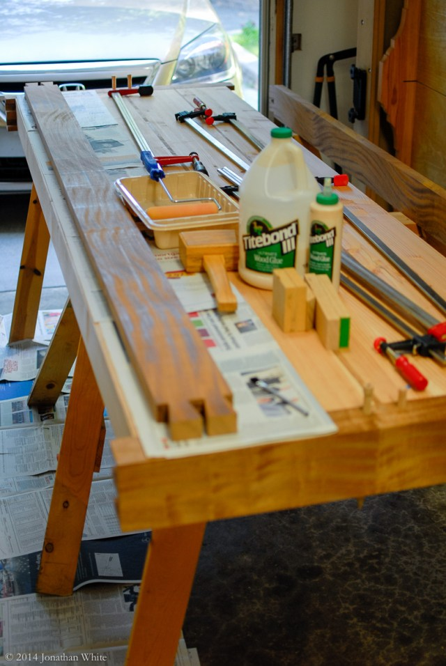 Everything I will need assembled and ready to start the glue-up.