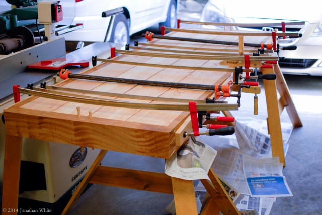 Just a few clamps applied.