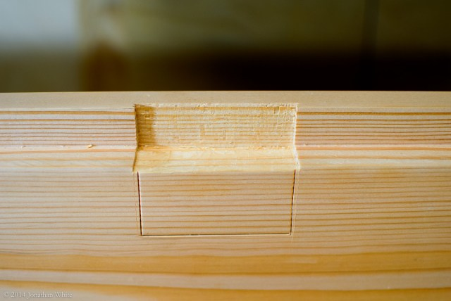 With the hinge mortises in the rabbet cut, I marked the bottom of the hinge.