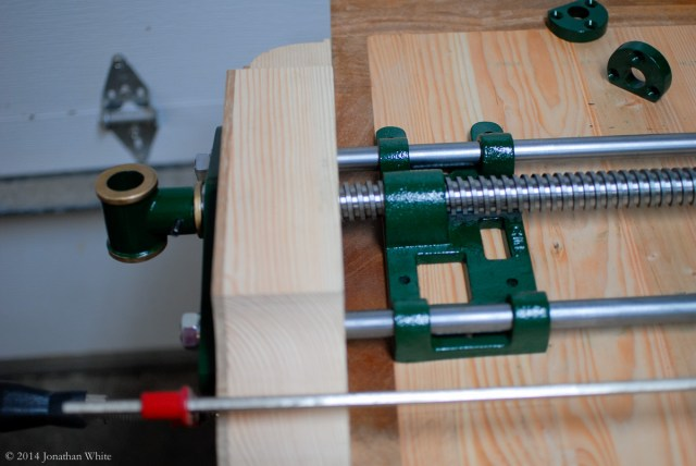 I clamped the vise chop to the edge of the workbench.