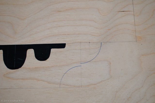 I used a square, compass, and rule to design and lay out the vise chop template.
