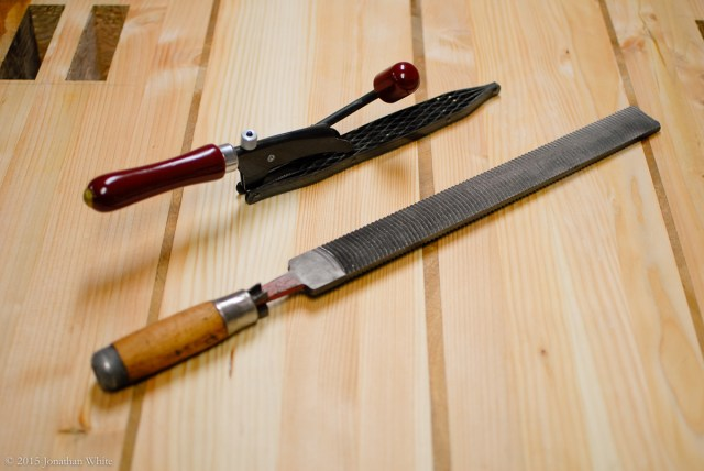 A shinto rasp and a large float used to widen or flair out the top of the mortise.