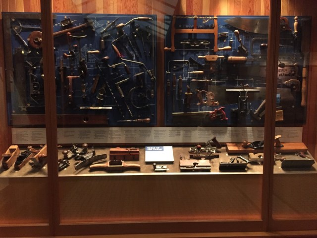 A display of woodworking tools.