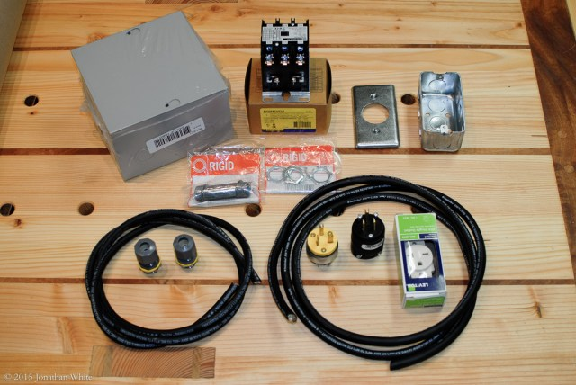 The electrical parts that I purchased to build a remote control system for the dust collector.