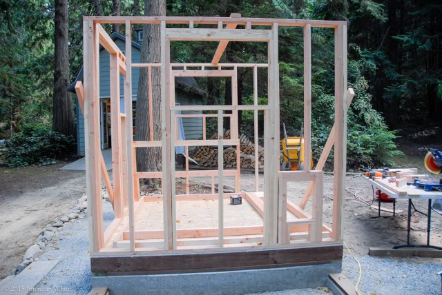 The pop door (lower right) that will let the chickens get out to the outdoor enclosure.