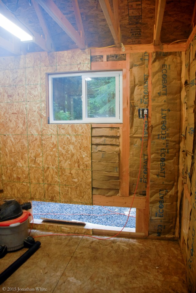 OSB is attached to the inside of the walls.