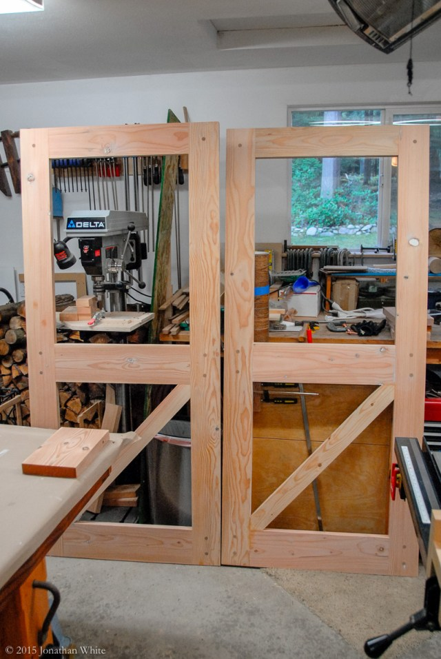 Both doors assembled, sanded, and ready for paint.