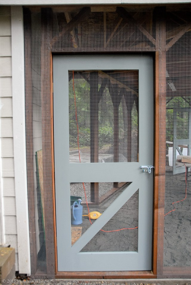 I added hardware cloth to cover the gap above the door.