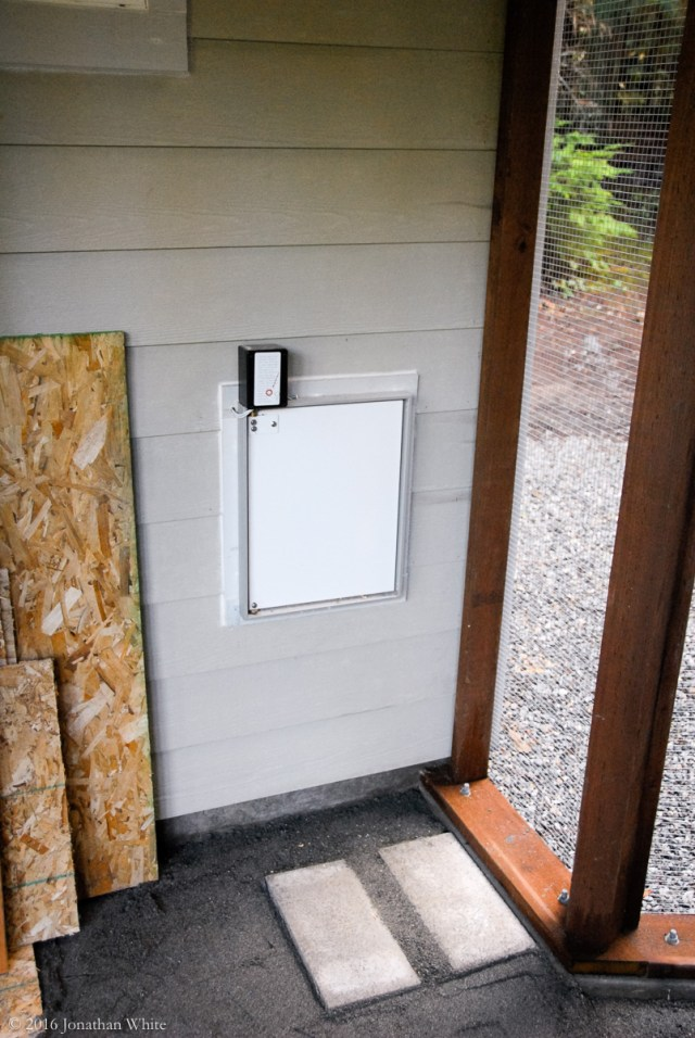 This is the door that the hens need to use to get from the hen-house to the run.