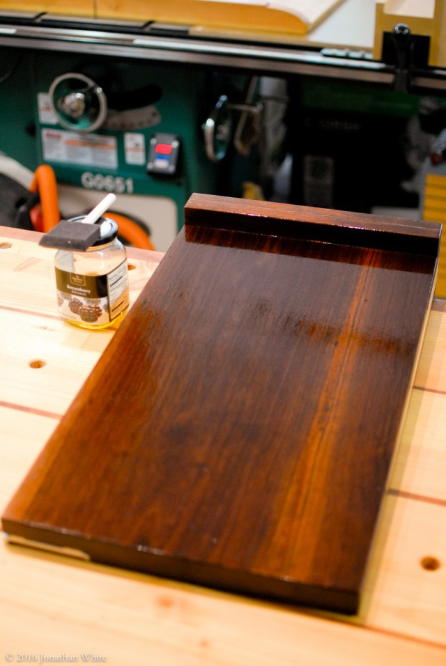 A couple of coats on the bottom before flipping to over to do the top.