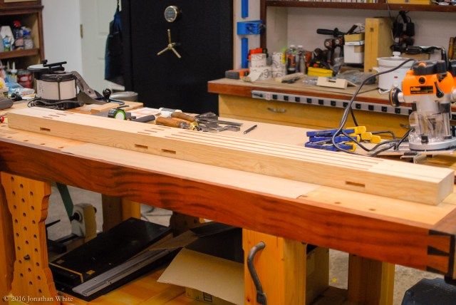 "I started on the sides by laying out all the joinery on the ""legs"" that will be the edges of the side frames."