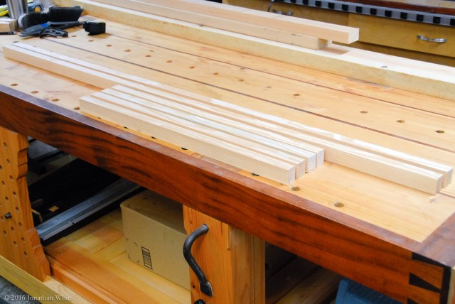 I milled some more pieces of Douglas Fir to make the bottom floor frame.