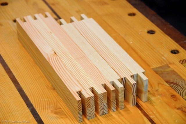 Bridal joints, cut at the table-saw.