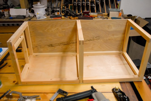 The plywood gets glued and nailed on, and some spacers were installed with pocket hole screws.