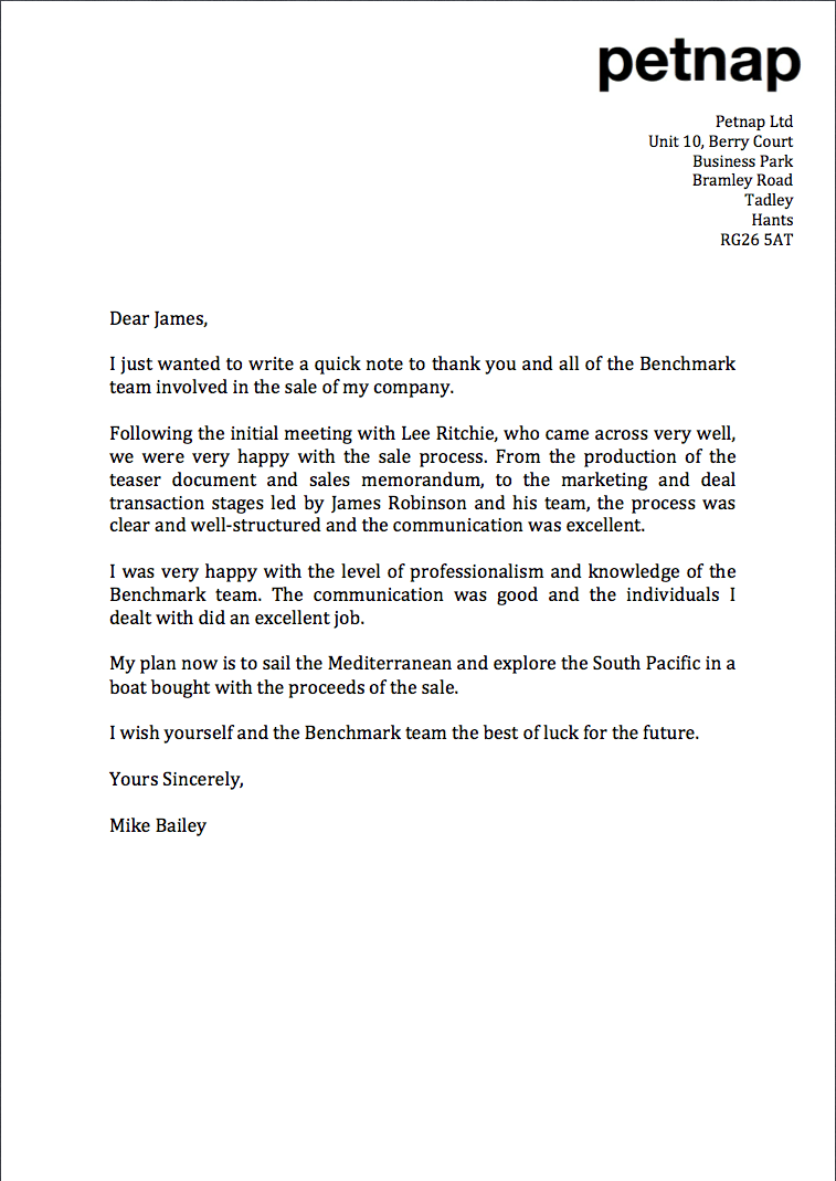 Thank You Letter From Mike Bailey Of Petnap Ltd Benchmark