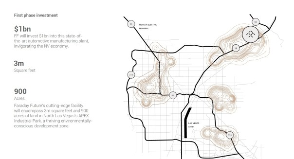 FF's proposed location top left, close to the Las Vegas Strip / Credit: Faraday Future