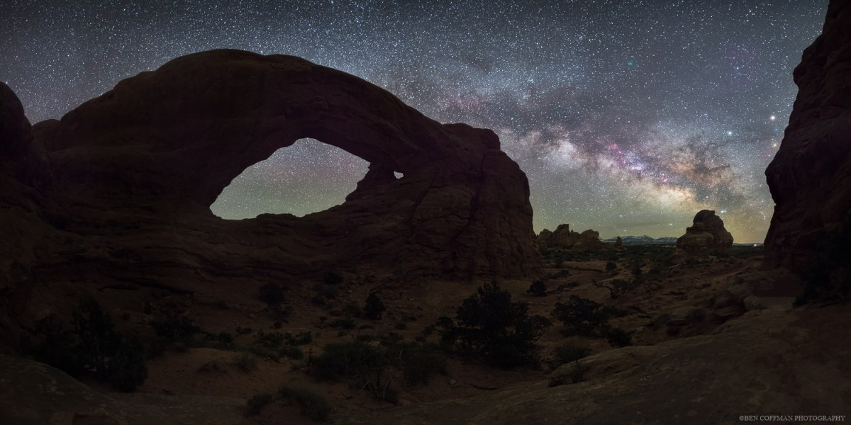 The Milky Way appears over Arches National Park's South Window.
