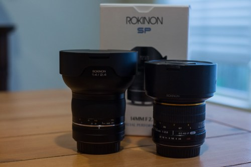 A side-by-side comparison of the Rokinon 14mm f/2.8 and the Rokinon 14mm f/2.4SP.