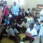 pupils of saint james primary school Lafia – sitting on the floor