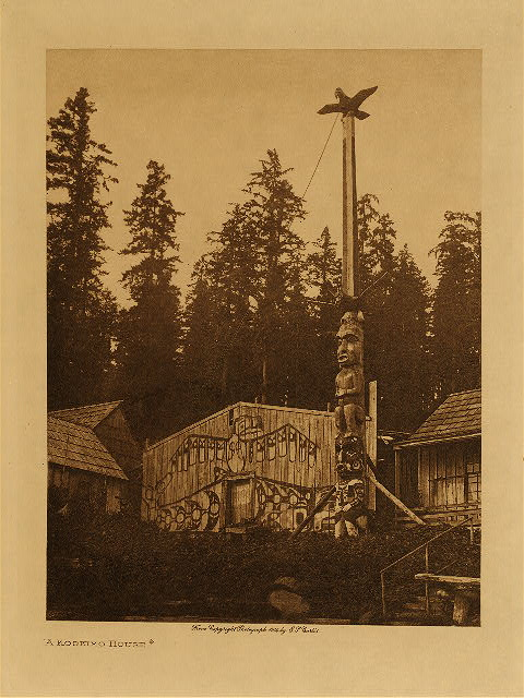 A Koskimo House by Edward S. Curtis. 1914.