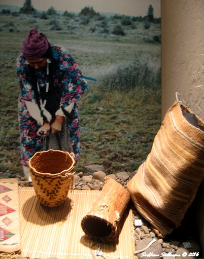 Baskets & photo of digging stick, Warm Springs Museum