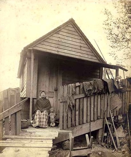 Princess Angeline, daughter of Chief Seattle at home in 1890, photo courtesy University of Washington Library.