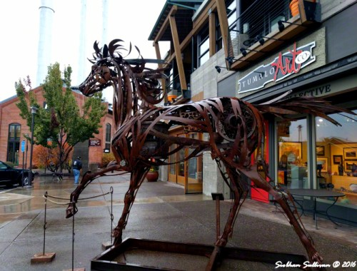 "Horse of a different color ""Charlie"" by Greg Congleton in front of Tumalo Art Co., Bend, Oregon"