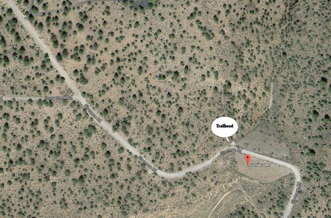 Aerial shot of where the trail head is for Tumalo Dam hike