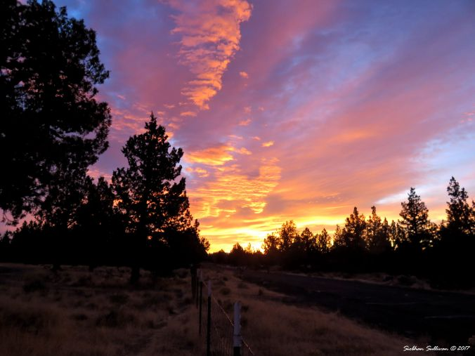 Glowing sunrise over the High Desert of Central Oregon near Bend. 18Oct2017