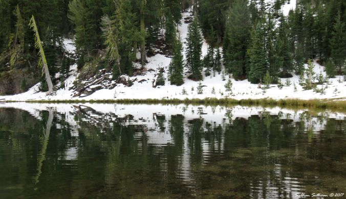 Rorschach reflections on Three Creek Lake in Oregon 24Sept2017