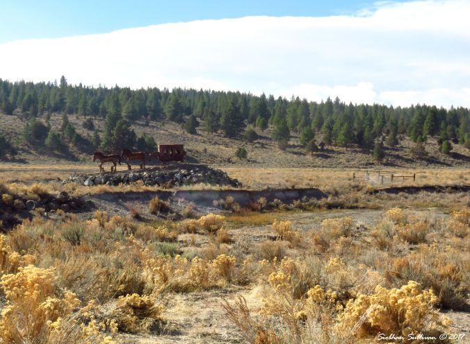 Stagecoach sculpture at Crane Creek Ranch near Lakeview, Oregon 1November2017