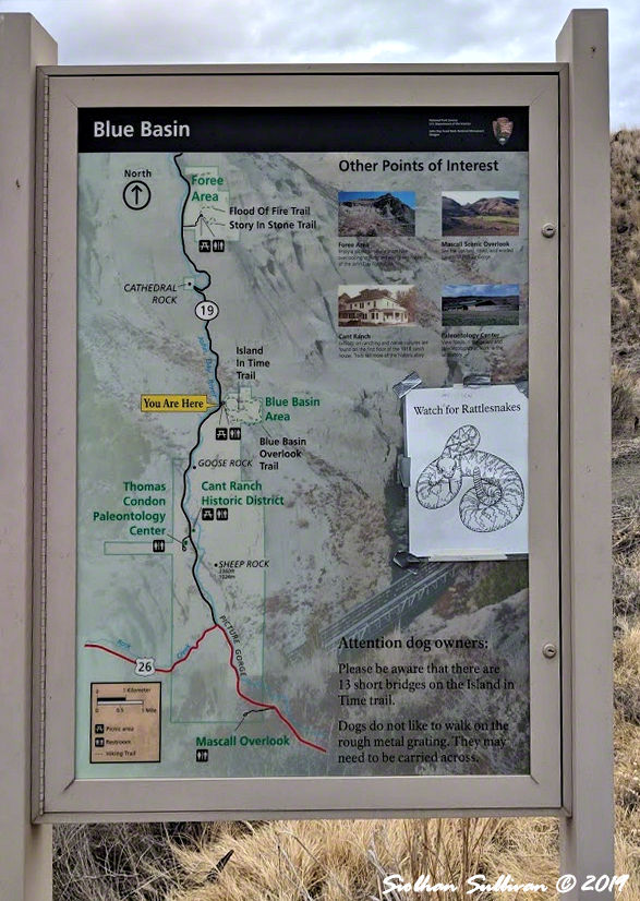 Blue Basin map, John Day Fossil Beds National Monument, Oregon 26October2018